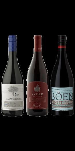 Smagekasse Pinot. Casas del Bosque 2014, Ryder Estate Pinot Noir 2017 og Böen Santa Maria Valley 2016.