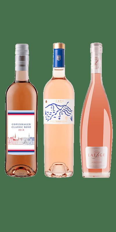 Smagekasse Rosé. Copenhagen Classic Rosé,Ceres Rosé og Lafage Miraflors Rosé