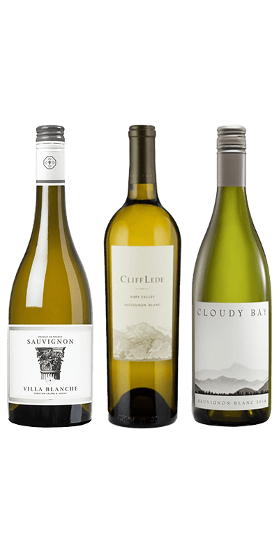 Smagekasse Sauvignon Blanc. Villa Blanche Sauvignon, Cliff Lede Sauvignon Blanc 2017 og Cloudy Bay 2018.