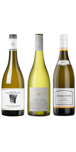 Smagekasse Chardonnay. Villa Blanche Chardonnay 20182, Langmeil Spring Fever Chardonnay 2016 og Kumeu River Estate 2017.